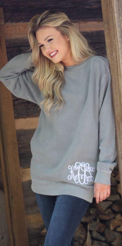 Monogrammed Comfort Colors Sweatshirt #falloutfit