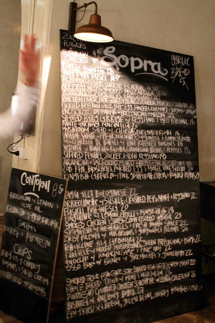 Cafe Sopra Menu
