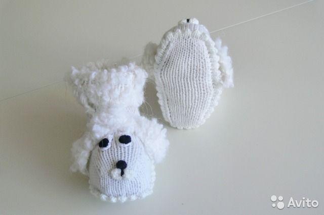 Новые вязаные пинетки для новорождённых Собачки— фотография №3