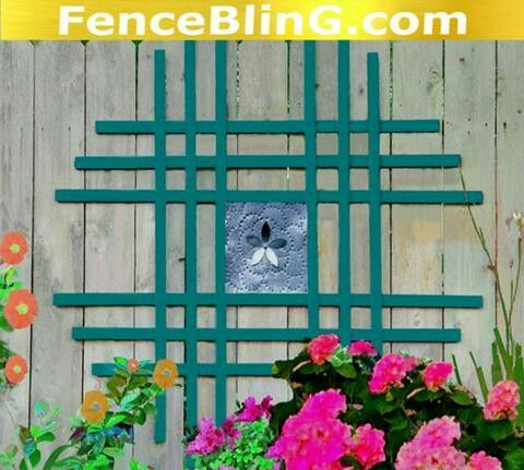 Outdoor Wall Art Metal Flower Insert Fence Bling in Teal is fabulous as Fence Art or Yard Art. This Outdoor Wall Decor is a shade of teal I personally use as a  wall decor color in my home and yard. It looks just lovely in the garden and offers privacy from your neighbors.