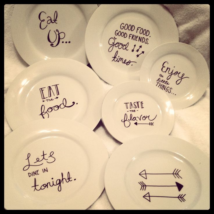 DIY Sharpie plate project! Use sharpie and bake at 350 for 30 mins=permanent. Finally got to my husbands old college dishes and I'm so pleased with the turn out!