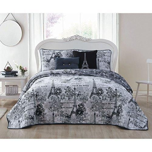 Girls Black Grey I Love Paris Quilt Queen Set Eiffel Tower Beeding France Inspired French Pattern Floral Flowers Artistic City Love Butterflies