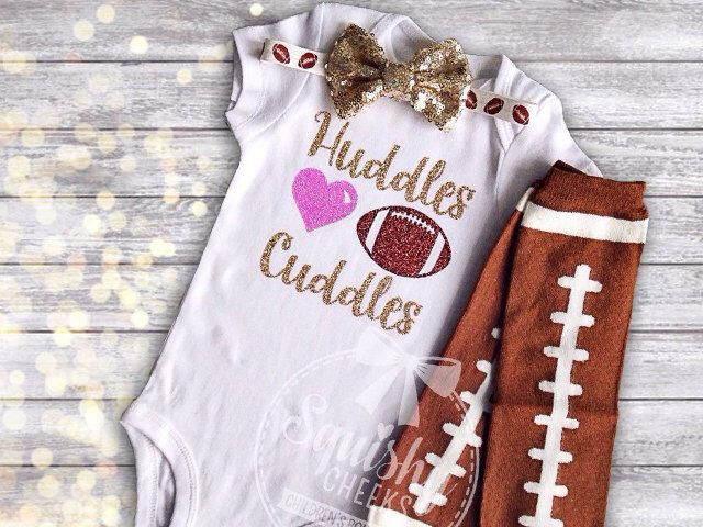 Baby Girl Football Outfit, Girl Football Shirt, Baby Football Outfit, Bodysuit, Leg Warmers & Headband, Preemie-6T, Trendy Football Fan by BabySquishyCheeks on Etsy https://www.etsy.com/listing/455749994/baby-girl-football-outfit-girl-football