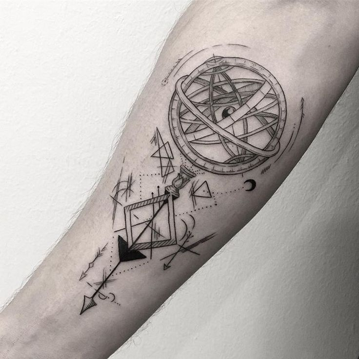 armillary sphere and some geometric stuff #tattoo #geometrictattoo #geometrics #armillarysphere #armillaryspheretattoo #geometricaltattoo #linework #blackink #inked