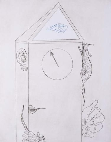 Charles Blackman 'Hickory Dickory Dock ' - Etching  on paper