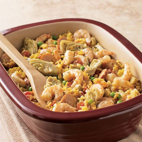 Speedy Shrimp & Sausage Paella - Uses Deep Covered Baker, but can substitute in RockCrok
