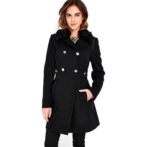 Wallis Black fur collar coat   Debenhams