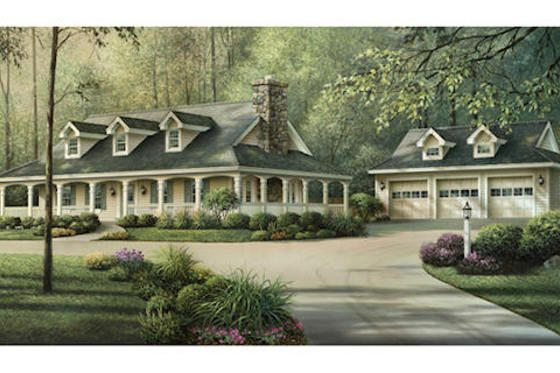 southern country house plan with inviting wrap around