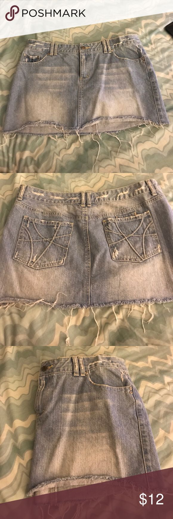 Distressed Jean Skirt size 11/12 Aeropostale distressed mini jean skirt. The perfect skirt for summer . Its a size 11/12 and 100% cotton. Hardly worn. Aeropostale Skirts Mini