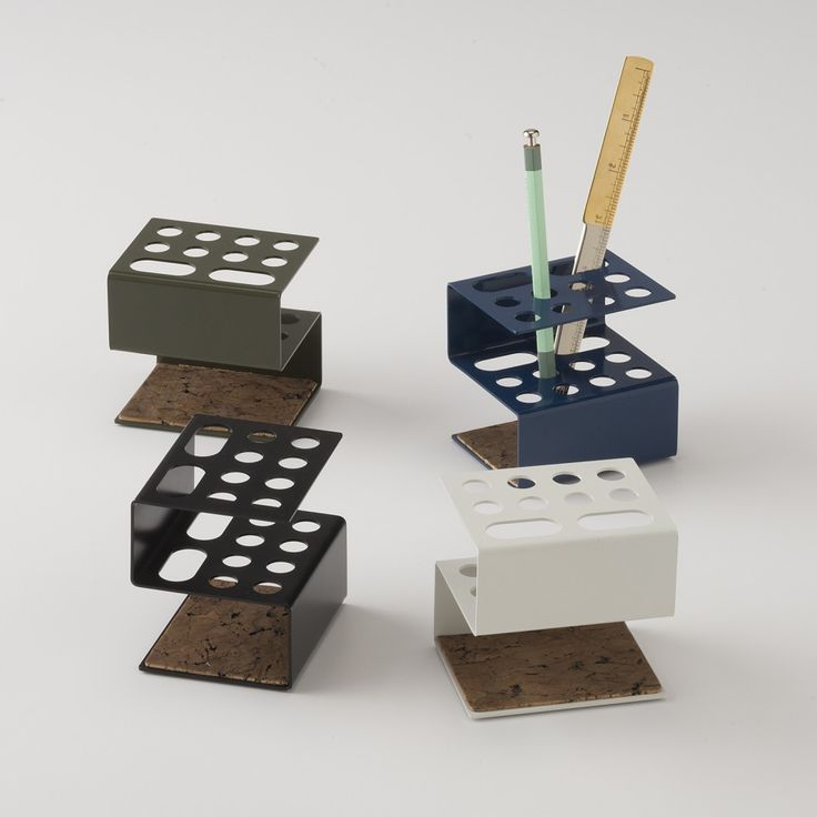 Inspired by and crafted to complement our Pin Dot Organizer, these handy and industrial Bent Metal Desk Organizers are made from heavy-gauge solid steel and laser-cut to perfectly fit a variety of off