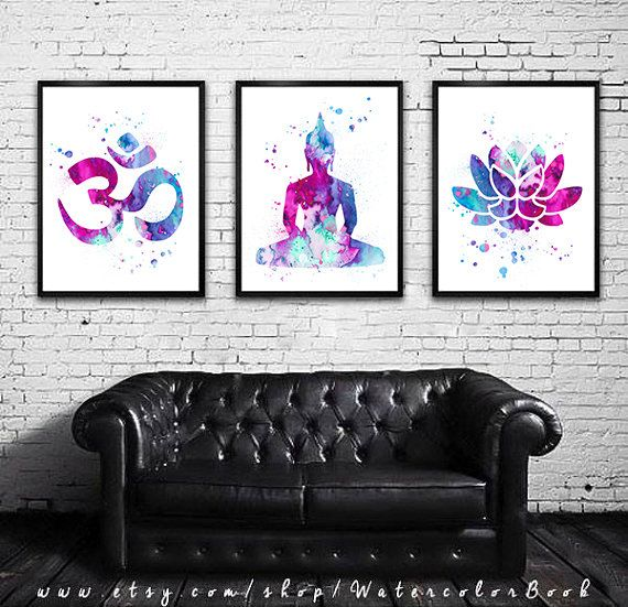 Buy 2 Get 1 FREE!!! Special offer, Yoga 2 Watercolor art Print in blue and purple, Home Decor, Buddha watercolor, Buddha art, Om Symbol Yoga art