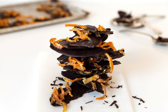 Dark chocolate and candied clementine tiles, great as an edible gift.