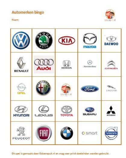 Automerken bingo: leuk spel voor onderweg naar je vakantiebestemming! Binnenkort meer spelletjes op http://www.kidseropuit.nl