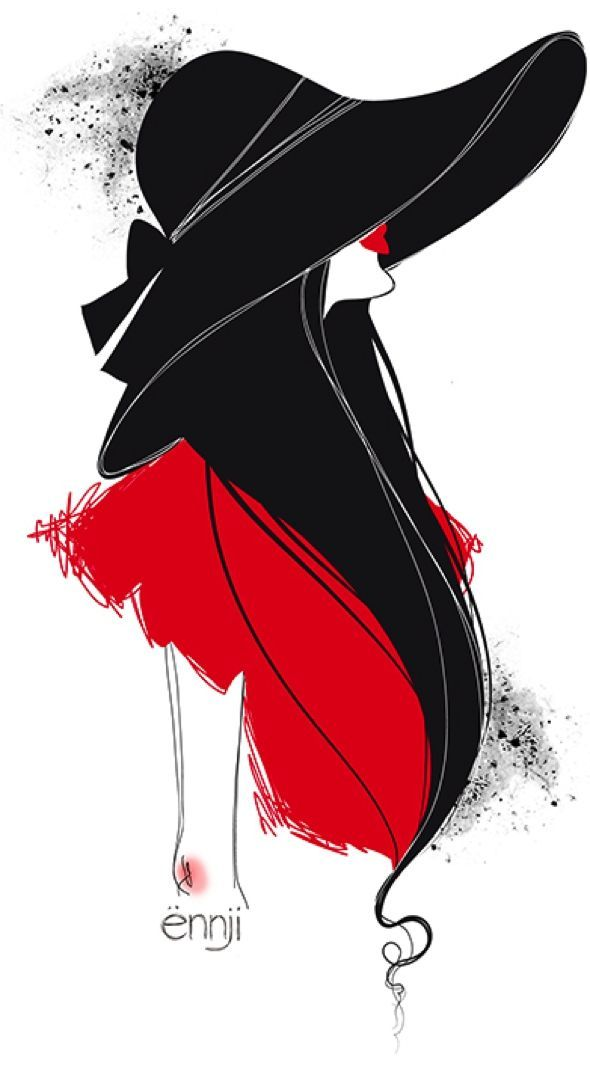 illustrations-mode-ennji-dessin-silhouette-feminines-rouge-noir-10