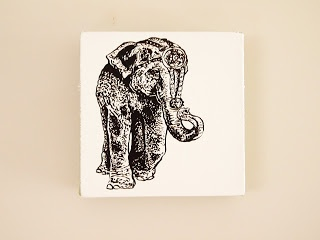 Retro Circus Elephant   Acrylic on canvas 205mm by 205mm
