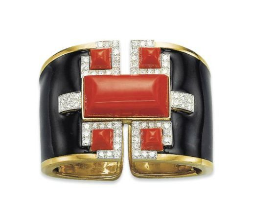 A Coral, Diamond and Enamel Bangle, By David Webb
