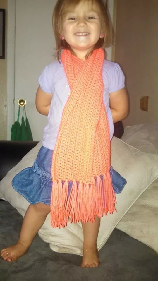 Scarf for my oldest modeled by my middle daughter