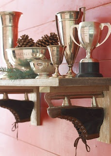 What about using Brandon's old ice skates and do this for McCoy's big boy room.  fun skate shelf