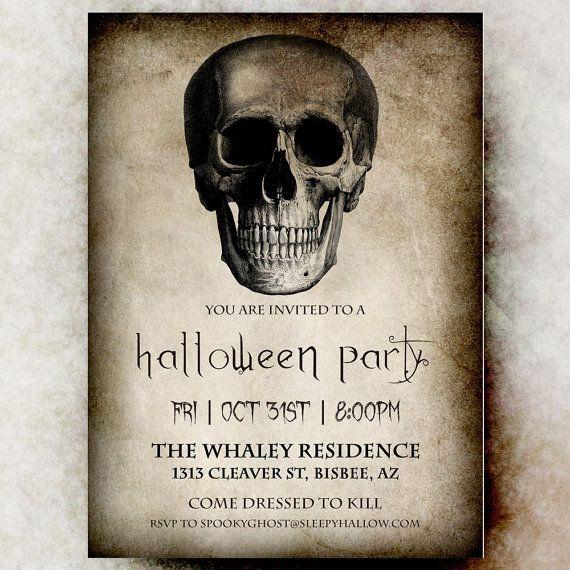 Adult Halloween Invitation - Halloween invitation printable, Skull Halloween invitation, Halloween invitation