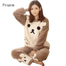 Autumn and Winter Women Pyjamas Sets Thick Warm Coral Velvet Suit Flannel Long Sleeve Female Cartoon Bear Animal Pants Sleepwear(China (Mainland))
