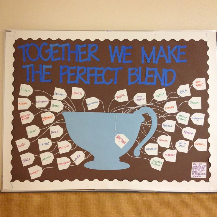 """""""Together we make the Perfect Blend"""" diversity RA Bulletin board"""