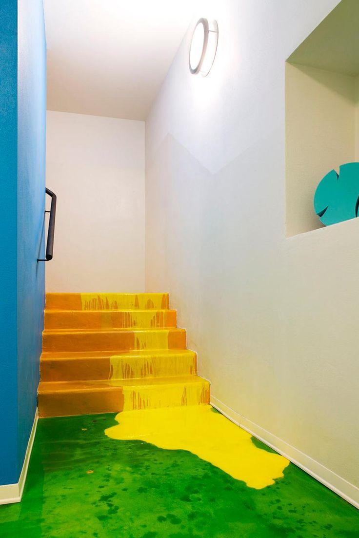 Massimo Adiansi Nursery - paint dripping stairs
