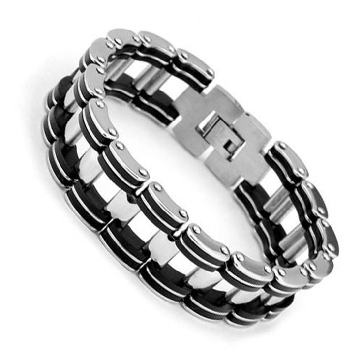 1.97$  Buy here - Fashion Steel Man Bracelet Casual 304L Stainless Steel Bracelet  & Bangle 210mm Men's Jewelry Strand Rope Charm Chain Wristband   #aliexpresschina