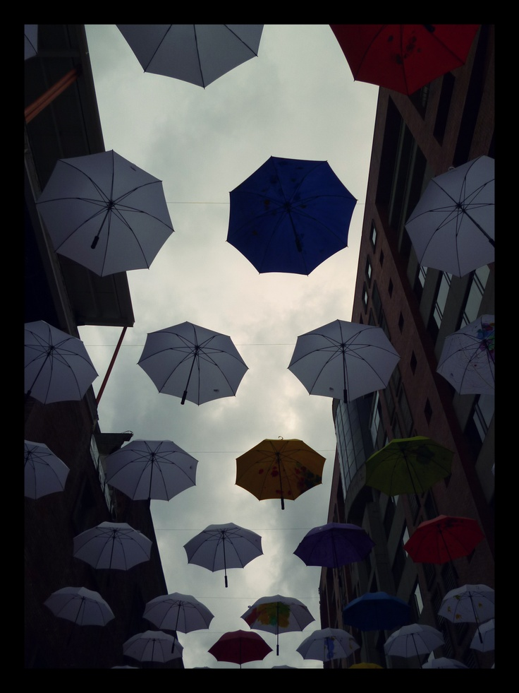 Rain under umbrellas. Bogotá