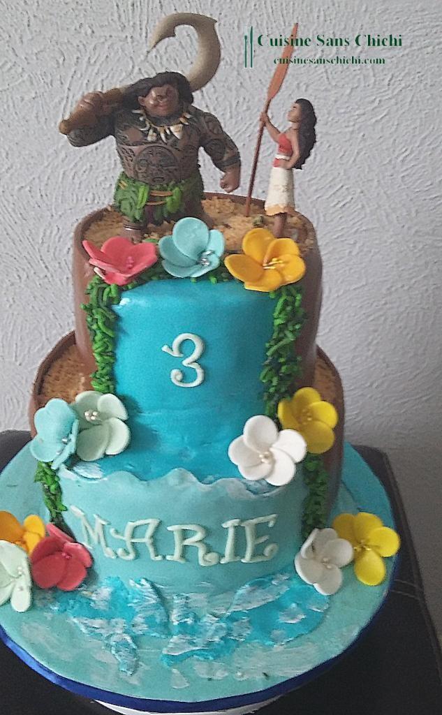 Gâteau thème Vaiana, pour l'anniversaire d'une petite fille.