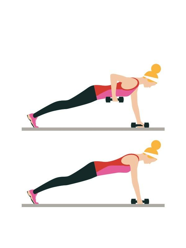 Alternating-arm press-ups: 3 sets of 20  Intermediate workout routine - Assume the press-up position, holding dumbbells. Lift one hand at a time off the floor towards your chest, bending your elbow. Keep the rest of your body still.  Click to read the full workout on You & Your Wedding's website.