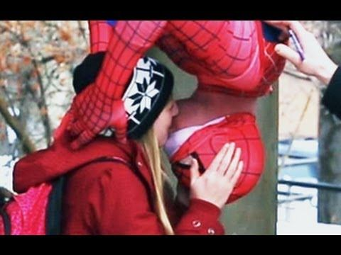 Spider-Man Kissing Prank. There was one done under the mistletoe at BYU so it is cute that USU is doing this too.