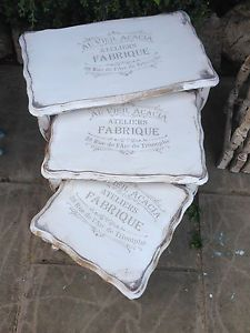 French Annie Sloan distressed worn refurbished nest of tables