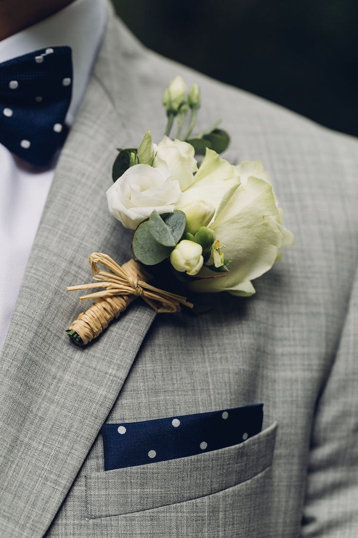 White Rose Buttonhole | Navy Polka Dot Bow Tie & Pocket Square | Miss Gen Photography