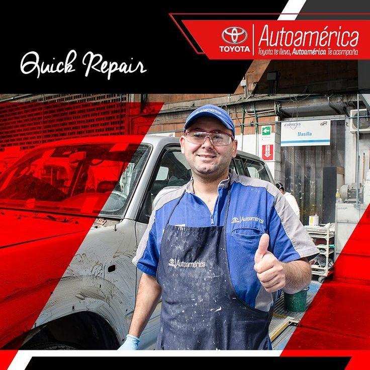 En #AutoaméricaIndustriales contamos con el servicio #QuickRepair para reparar los daños leves de tu #Toyota. Ingresa aquí https://goo.gl/wl8wwu y solicita el diagnóstico, la cotización y tu cita.