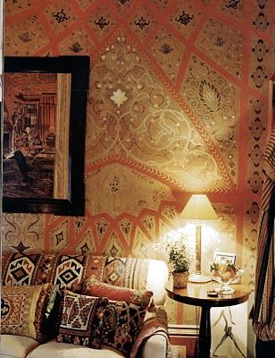 Warm Bohemian Room With Patterned Wallpaper