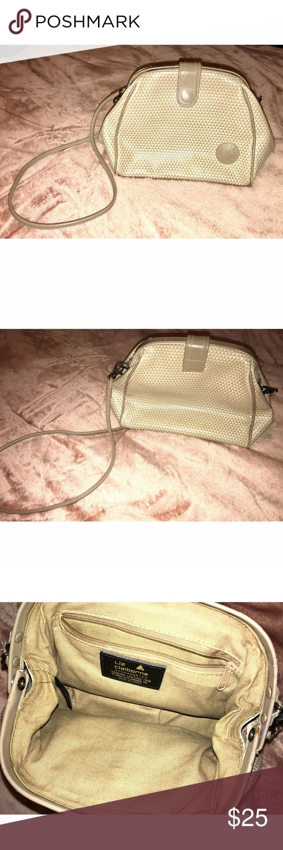 Vintage Liz Claiborne Purse!✨ Vintage Cream cross body/shoulder bag! In VERY good condition, a couple marks by the strap closures (as shown). Love the space inside, & the frame that gives the bag it's cute shape!   ✨BUNDLE & SAVE✨  **💕REASONABLE OFFERS ALWAYS WELCOME!💕**   ✨comes from a smoke-free environment✨  ***TAGS: American Apparel, Topshop, Gap, Ralph Lauren, Forever 21, F21, H&M, Zara, Levi's. Liz Claiborne Bags