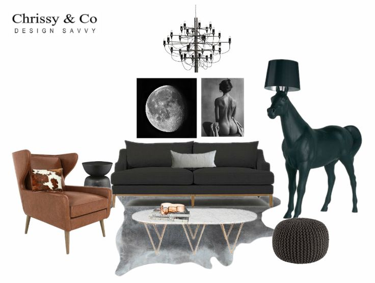 Contemporary Living Room Client Conceptual: Design By Chrissy & Co Design Savvy. Cognac, black and grey the best unisex colour palette. Overside sculpture and striking art.