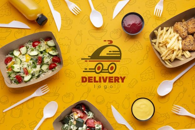 Download Flat Lay Free Food Service Arrangement With Background Mock Up For Free In 2020 Food Delivery Food Delivery Website Food Delivery App