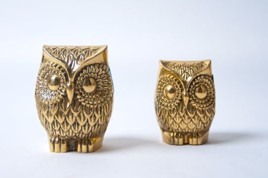 Brass Owl Figurines: Vintage Style: Brass Animal, Kitchens Shelves, Little Owls, Brass Owls I, Nice Things, Statues My Sweet Hom, Owl Statues, Vintage Style, Desks Accessories