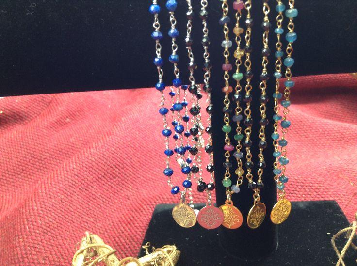 """Rosary Necklace - Naszyjniki """"Różaniec"""" - spinel, mix kamieni, szmaragdy, lapis lazuli"""