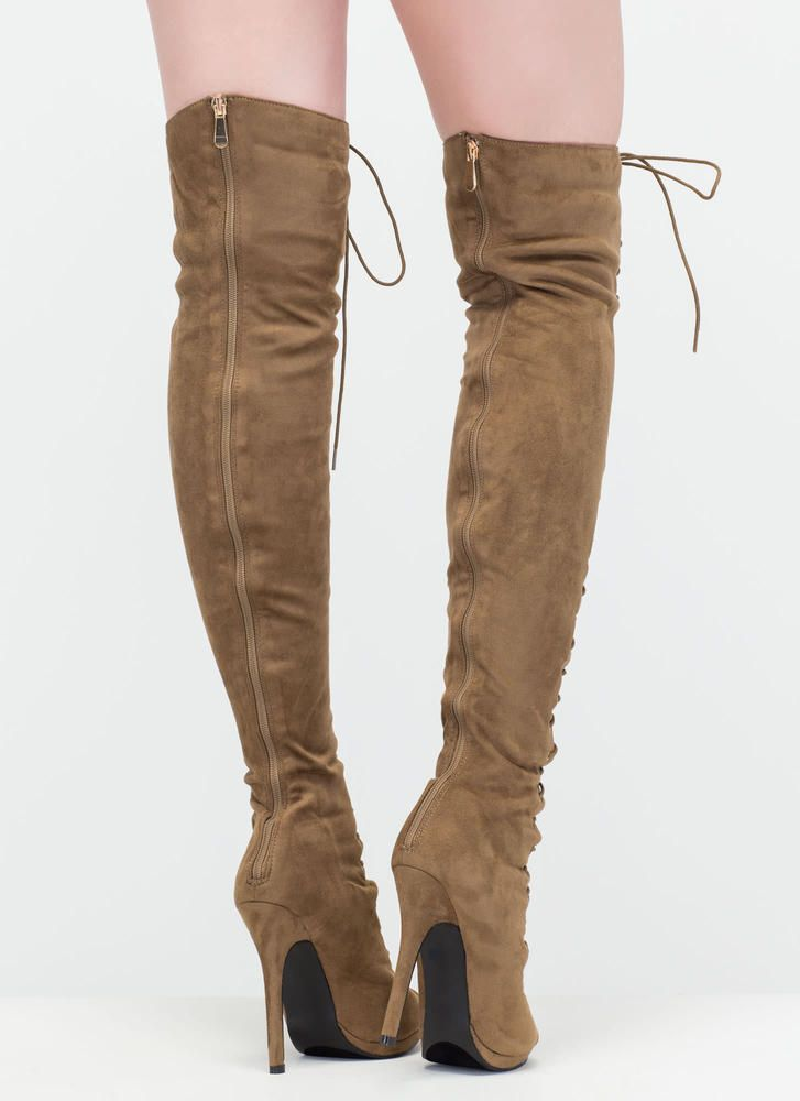 54128f9e70d Revamp Faux Suede Over-The-Knee Boots OLIVE