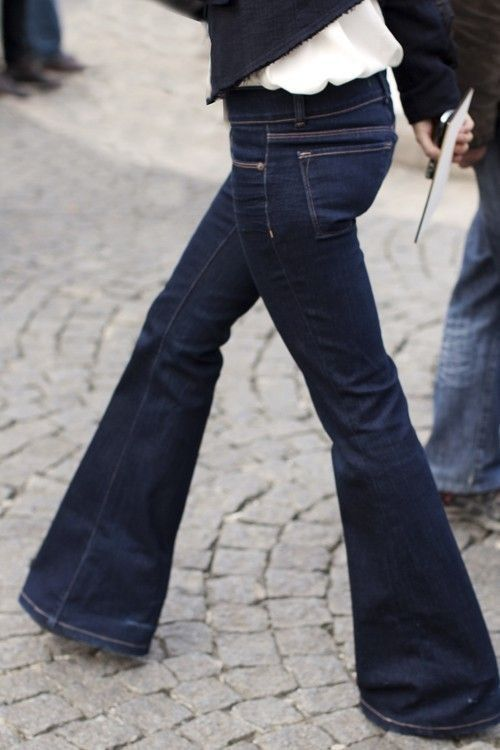Flare leg jeans.