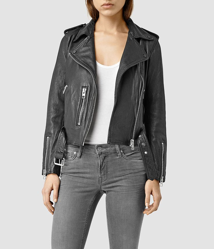 Size 0 | Womens Balfern Leather Biker Jacket (Black)