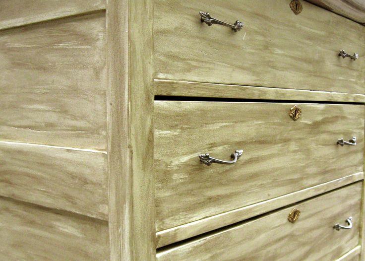 A close-up of the dresser's unique finish