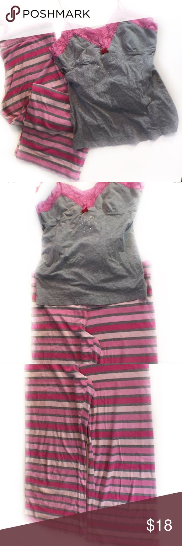 "Victoria Secret Love Pink PJ Pajama Bottom Medium Victoria Secret Love Pink PJ Pajama Bottom Striped Sleep Pants W/LP Shirt Medium  18"" waist 30"" length   17"" arm pit to arm pit 24"" length PINK Victoria's Secret Intimates & Sleepwear Pajamas"