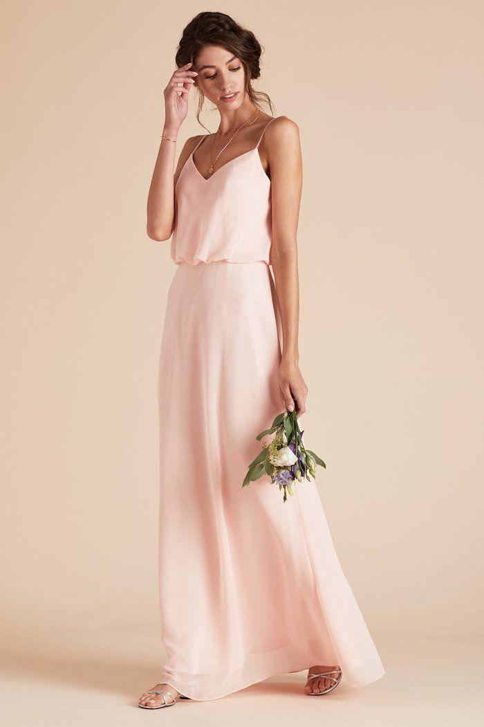 1c908b5d20b Birdy Grey Gwen Thin Strap V Neck Minimalist Bridesmaid Dress in Blush Pink   100