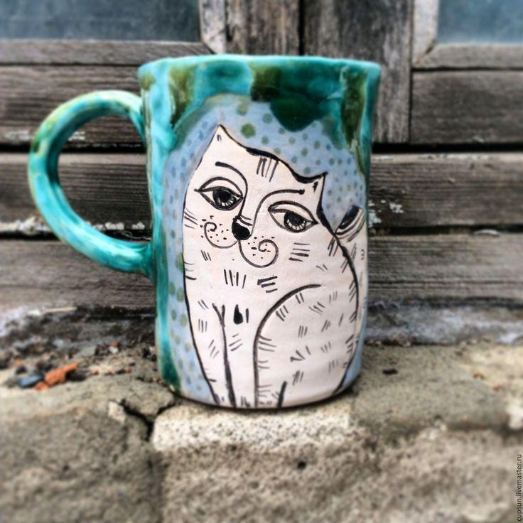Купить Кружка с котиком - зеленый, кот, кружка, кружка с росписью, керамика ручной работы