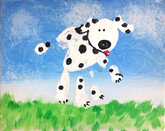 Handprint dalmatian dog craft