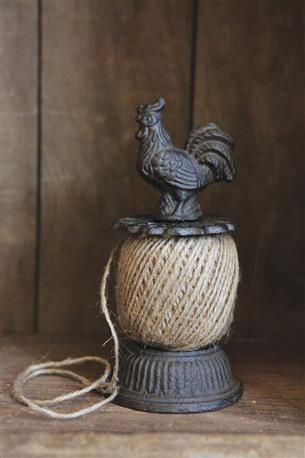 "Creative Co-Op - 7-3/4""H Cast Iron Rooster String Holder w/ 28 Yards of Jute String #wholesale #home #decor"