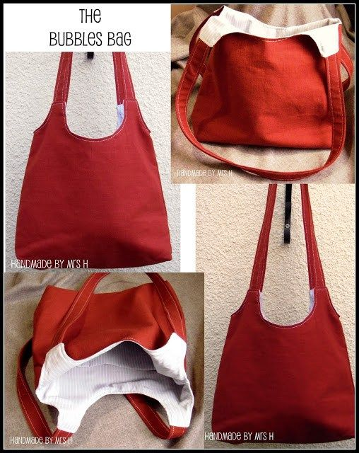 """A free PDF sewing pattern by """"Mrs. H"""" and a complete step-by-step tutorial demonstrating how to sew this roomy purse. A keeper! Samantha did a fab job developing this sewing tutorial. …"""